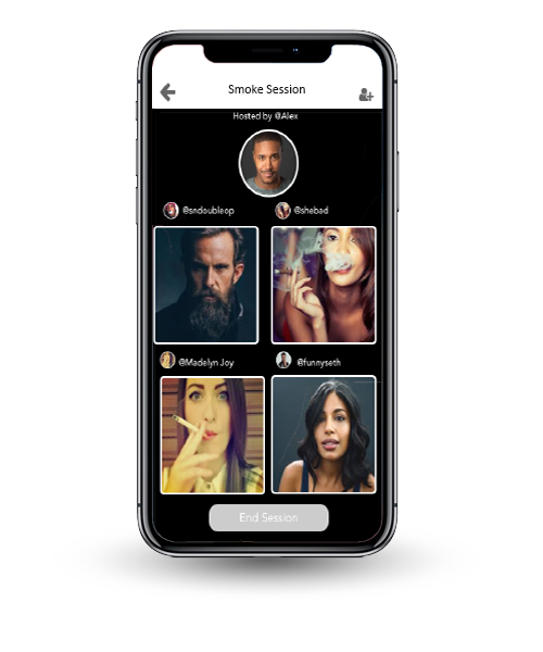 the feature called Budcast. The image depicts a group of people in various screens having a group video chat.