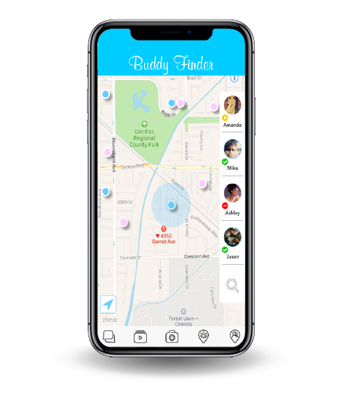 the feature called Buddy Finder. The image depicts a map with other users that can be potential buddies.