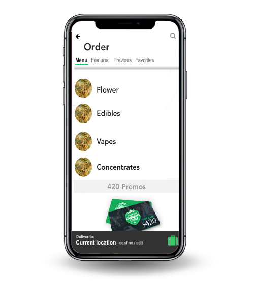the feature called Your Business. The image depicts a list of options included flower, edibles, vapes, and concentrates to order.