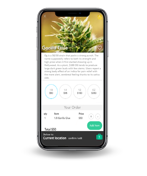 the feature called Your Business continued. The image depicts a bud with the name Gorilla Glue and its description. It also has the price for it listed.